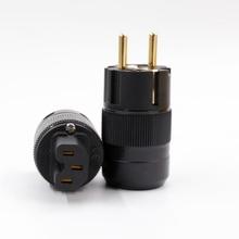 Одна пара X 24 К Позолоченные ЕС Schuko Plug + IEC разъем для hifi мощность кабель
