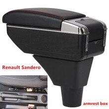 Для Renault Sandero Stepway подлокотник коробка центральный магазин содержание коробка для хранения подлокотник коробка с подстаканником пепельница USB интерфейс