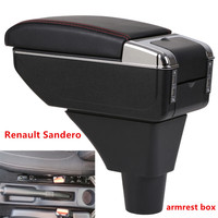 For Renault Sandero Stepway armrest box central Store content Storage box armrest box with cup holder ashtray USB interface