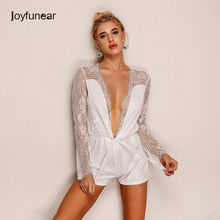 2016 New Summer Cute Jumpsuit White v neck long Sleeve Sexy casual Lace Fashion Rompers Womens