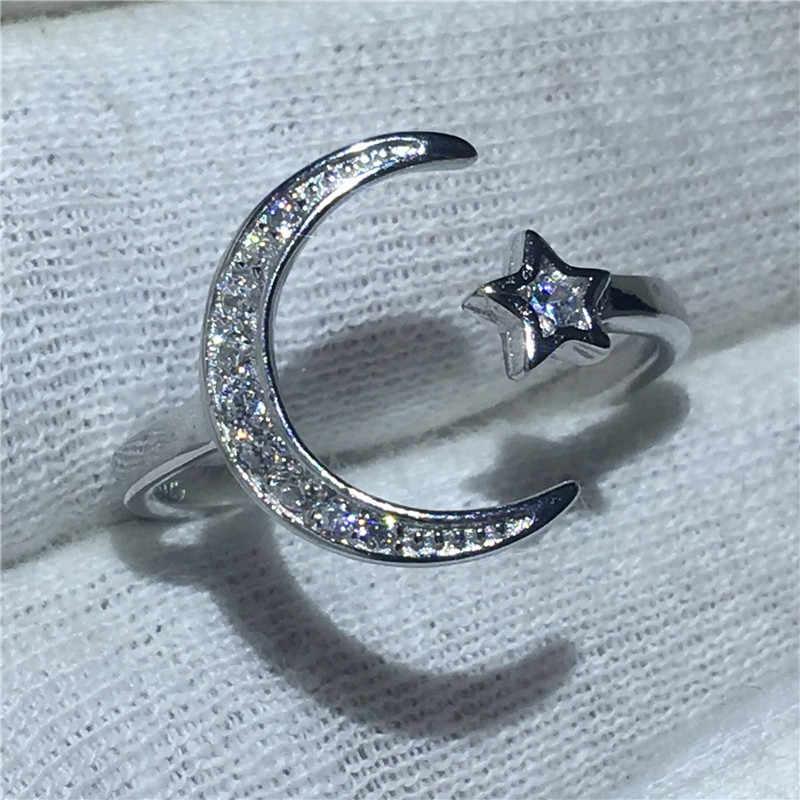 Handmade Moon Star Shape 100% Soild 925 เงินสเตอร์ลิงแหวน Sona 5A zircon แหวนหมั้นแหวนแต่งงานสำหรับผู้หญิงของขวัญ