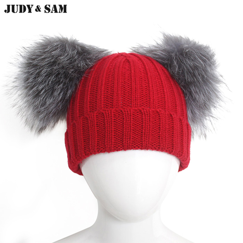 New Stylish Winter Wool Blend Knitted Hat for Boys with Unique Style of Silver Fox Fur Pom Pom for Girls цена и фото