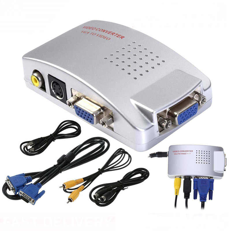 Universal PC NTSC Sobat VGA Ke TV Komposit Video RGB AV RCA Svideo Sinyal USB Converter Switch Switcher Kotak