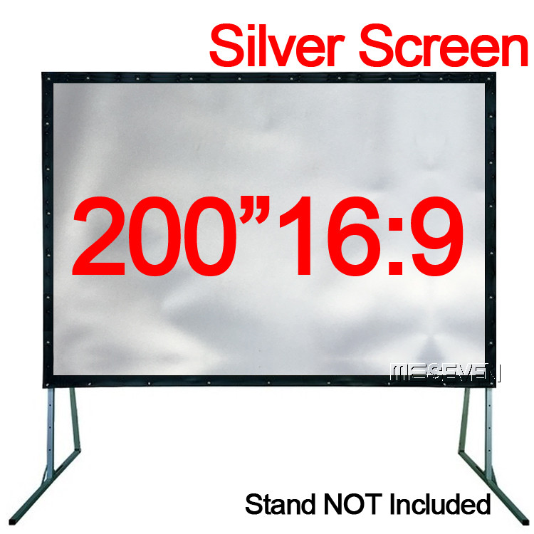 200 pulgadas 16:9 Exterior profesional gris Metal Silve pantalla de proyección cortinas para proyectores ver películas Outsides