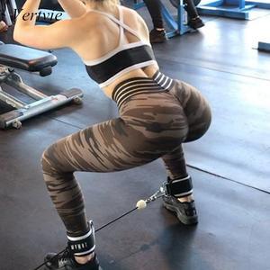 9c2356ed8d6223 Vertvie Elastic Push Up Women Legging Sexy Military Camo Print High Waist  Yoga Pant