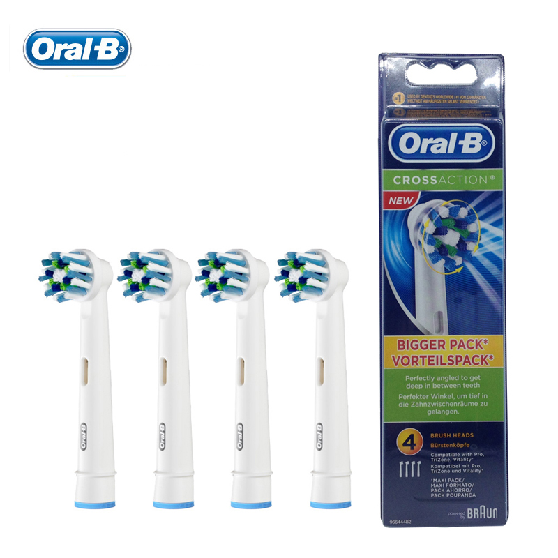 Oral B EB50-4 Cross Action Electric Toothbrush Heads Replacement Teeth Brush Heads for  D12 / DB4510 / D16 / D20 / D34 2pcs philips sonicare replacement e series electric toothbrush head with cap