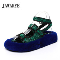 2018 Bling Bling Sequin Gladiator Sandals Woman Open Toe Fur Thick Bottom Casual Shoes Summer For Women