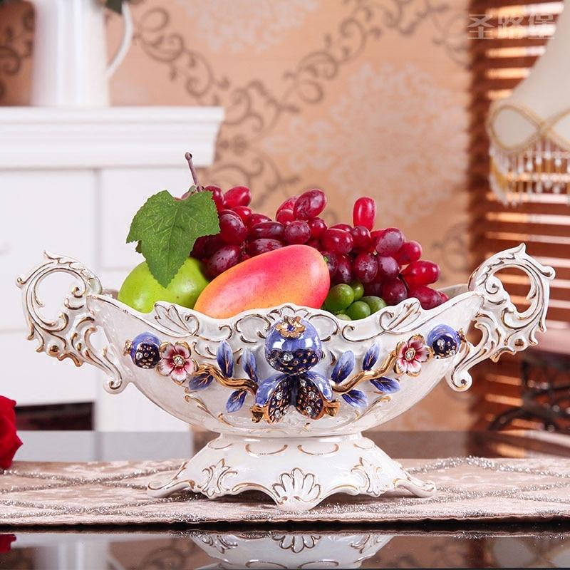 European Luxury Large Household Ceramic Fruit Dish Room Decor