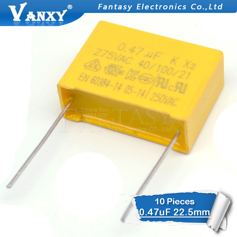 10pcs 470nF Capacitor X2 Capacitor 275VAC Pitch 22.5mm  0.47uF X2 Polypropylene Film Capacitor
