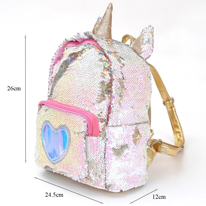 New Sequins Unicorn Backpack Women Pu Leather Mini Travel Soft Bag Fashion Schoolbag For Teenager Student Girls Book Bag Satchel #2