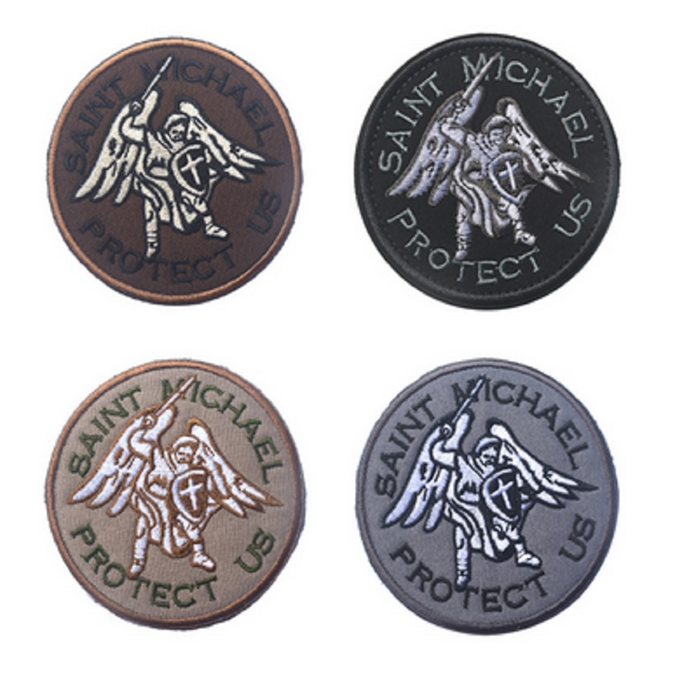 3D Embroidery patches Loop And Hook Helm of Sparta Guardian angel St. Michael protection embroidery patches