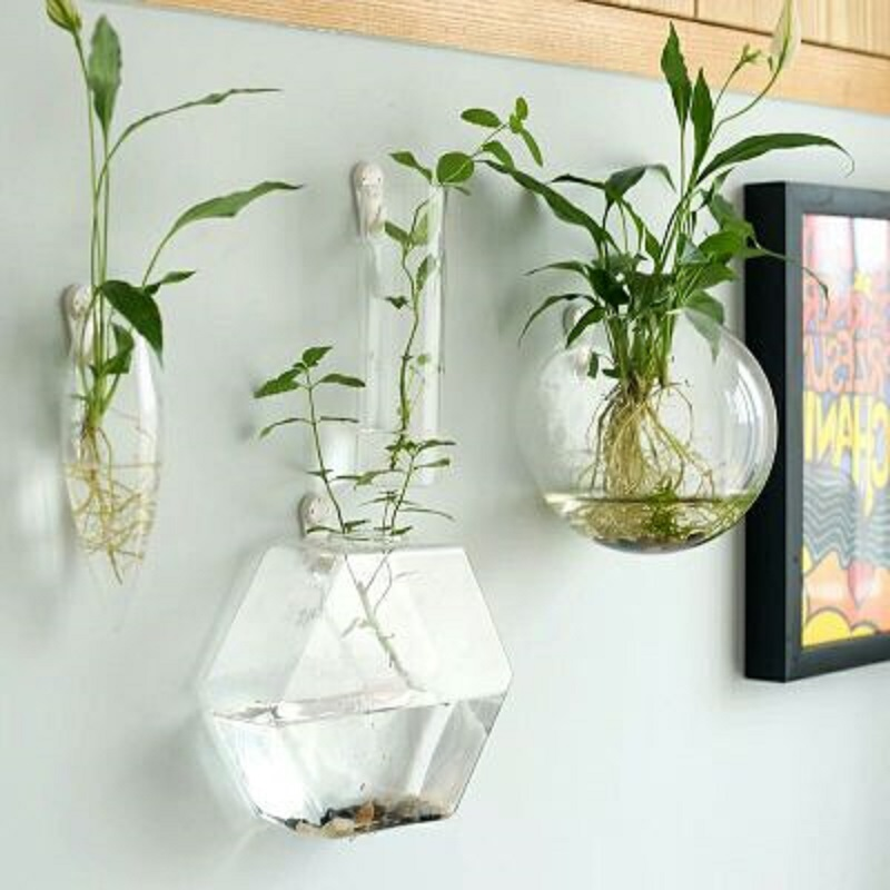 O.RoseLif 1PCS Handmade New Hexagonal Wall Clear Terrarium Vase Finish Tank Wedding Decoration Home Hydroponic Office