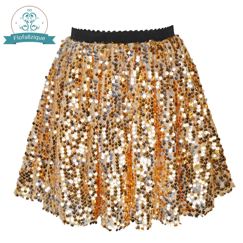 Baby Girl skirt 2018 Summer Gold Sequin dancing Elastic Waist Petticoat Pettiskirt For Girl Tutu Mini Toddler Girls skirt 1-12Y trendy elastic waist argyle hit color women s midi skirt