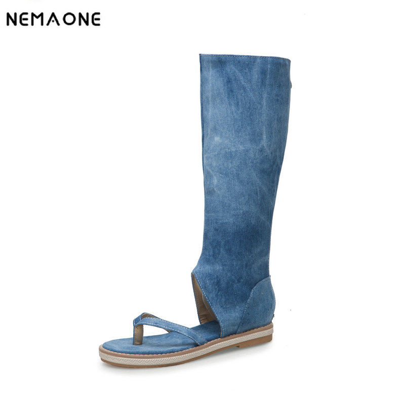 NEMAONE Women Sandals Flat Beach Shoes Denim Clip Toe Knee High Gladiator Summer Boots 2018 Sexy Fashion Casual Black Blue BeigeNEMAONE Women Sandals Flat Beach Shoes Denim Clip Toe Knee High Gladiator Summer Boots 2018 Sexy Fashion Casual Black Blue Beige