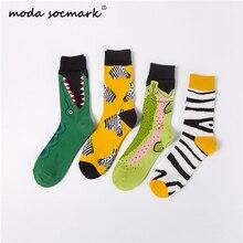 2019 Fashion color zebra stripes crocodiles Creative Art Socks Men Combed Cotton Harajuku Hip Hop Trend  Funny Clown Happy
