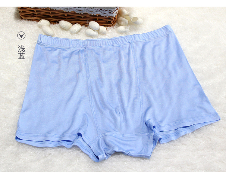 Male 100% real silk panties, silk trunk breathable flat feet shorts 4 wire knitting silk boxers