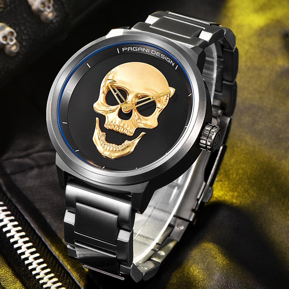 PAGANI Relogio Masculino hommes montres de luxe célèbre Top marque décontracté militaire inoxydable crâne Punk Quartz montre bracelet-in Montres à quartz from Montres    3