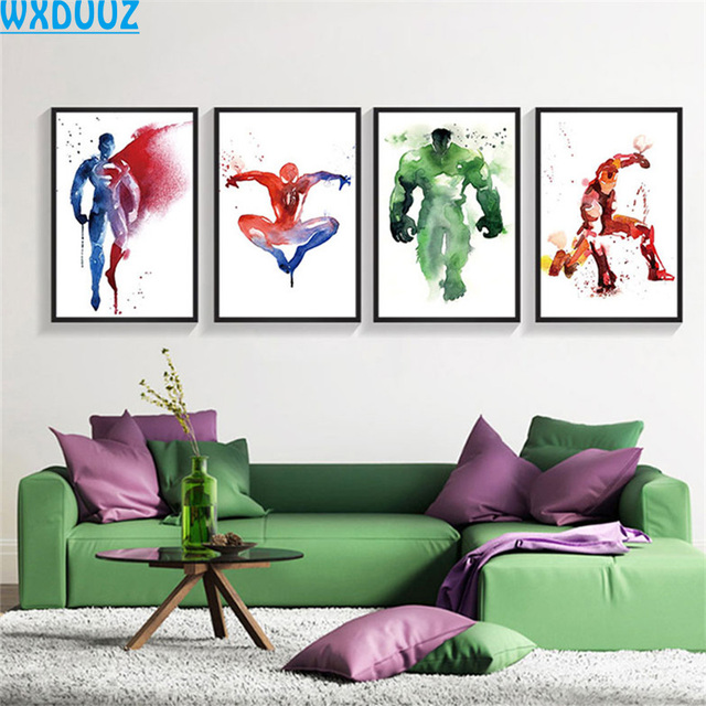 WXDUUZ Spider Man Iron Man Kids Room Decor Home Poster Wall Art ...