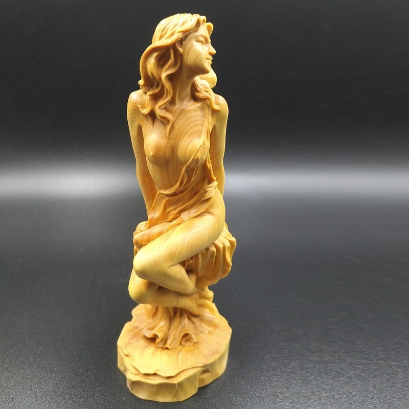 15X8X7 CM boxwood Beauty girl beautiful woman Accessories home Car decoration Carving crafts