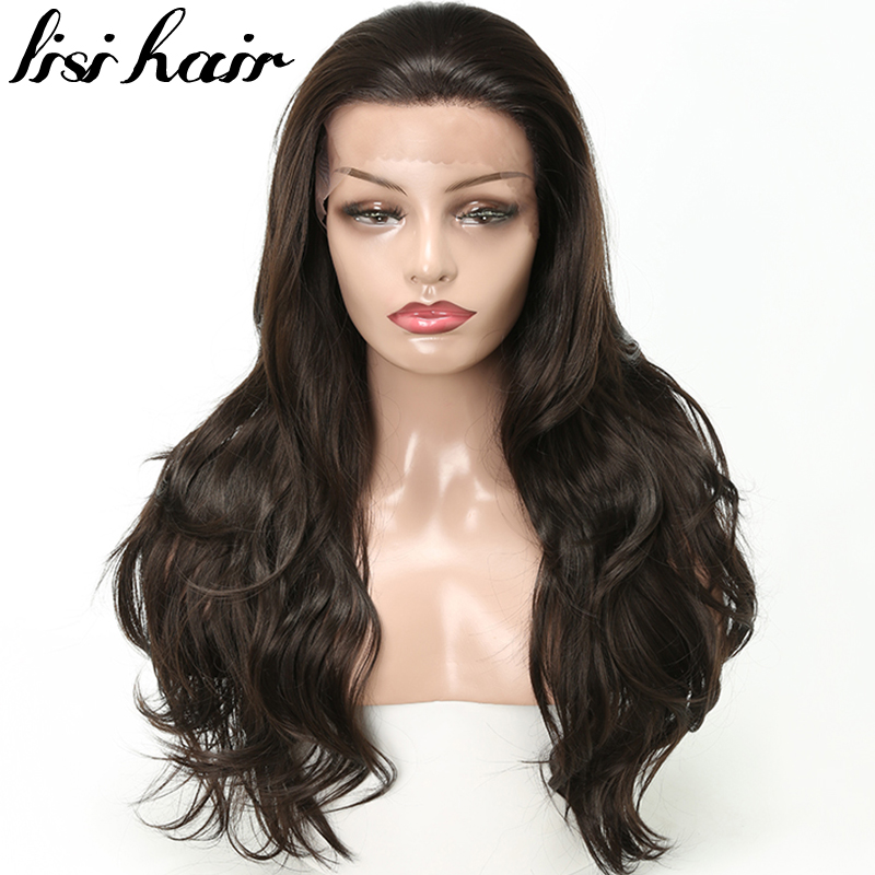 LISI HAIR 26 inches Pure balck color Long Curly Synthetic Lace Front Wigs African American For Women hair Dark Brown(China)