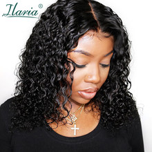 Ilaria Short Jerry Curly Lace Front Human Hair Wigs For Black Women Brazilian Remy Hair Bob Wigs With Bady Hair(China)