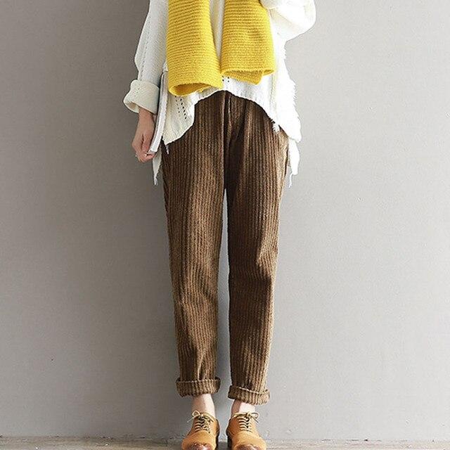 bd26465df18 Women s Corduroy Pencil Harem Pants High Waist Vintage Solid Long Trousers  For Women 2019 Spring Autumn Ladies Bottoms Plus Size