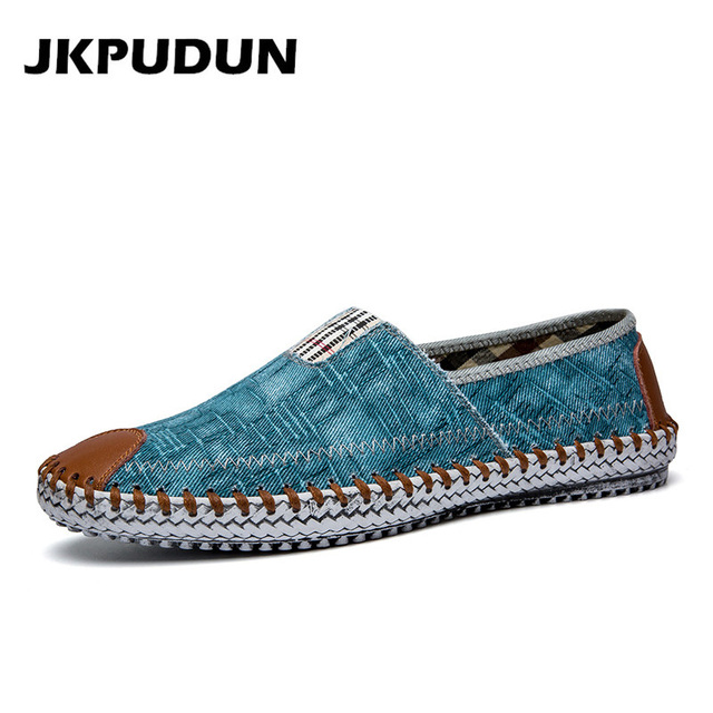 ca7d4e297 JKPUDUN Summer Canvas Shoes Men Fisherman Luxury Brand Designer Espadrilles  Flats Breathable Mens Denim Shoes Casual