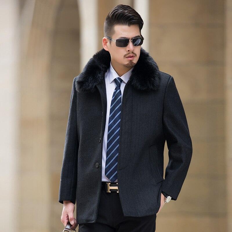 Зимние куртки мужские черные мужские пальто с мехом социальные Chaqueta Hombre джентльмен Длинные куртки мужские Slim Fit бизнес Veste Homme