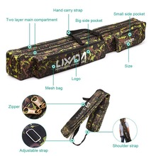 LIXADA 120cm 150cm Fishing Rod Bag Multifunctional Camouflage Double Layer Outdoor Fishing Bag Fishing Tackle Bag