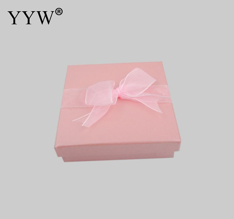 YYW Hot Sale Lovely Pink Cardboard Bracelet Gift Box Men 's Valentine' S Day Bangle Square Gift Boxes 89x89x22mm Free Shipping