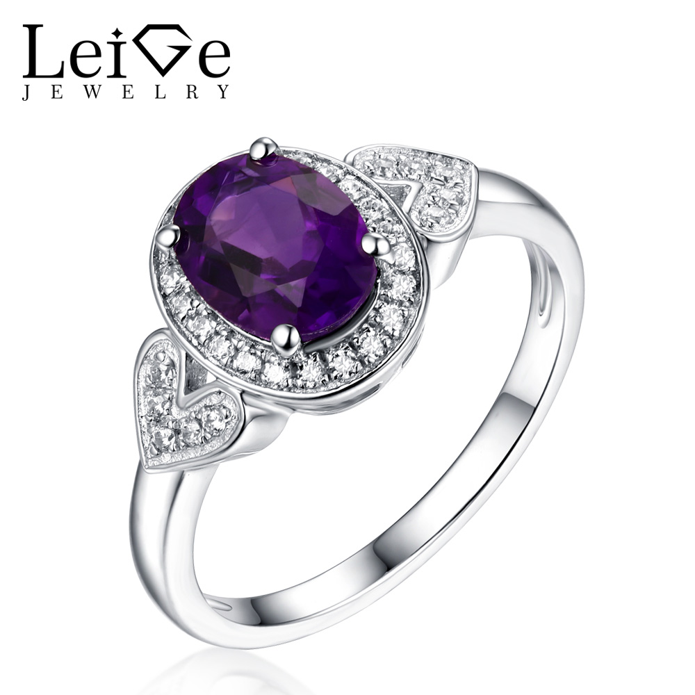 Leige Jewelry Real Amethyst Ring 925 Silver Oval Cut Classic Anniversary Rings for Women Purple Gemstone real 18k gold natural amethyst ring for women oval cut big gemstone jewelry modern stylish