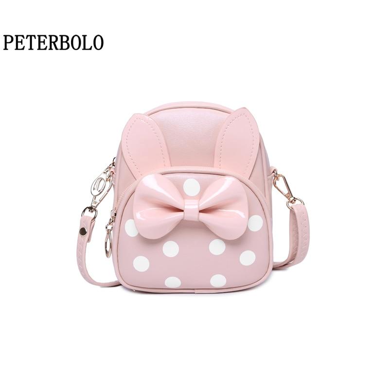 PETERBOLO Girls Cute Backpack Fashion Pu Bow Women Backpacks Daughter Gifts Mini Zipper Bags