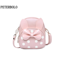 PETERBOLO Girls Cute Backpack Fashion Pu Bow Women Backpacks Daughter Gifts Mini Zipper Bags free shipping real photo 2017 mini pu mini backpack cheap women backpacks black bb108