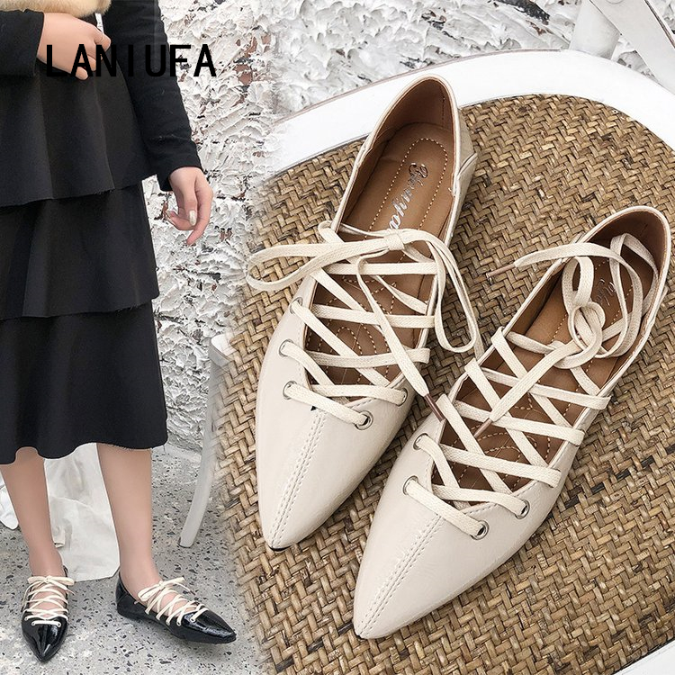 new Summer flats Women shoes Pointed Toe pu Leather Lace-Up Oxford Ballet dancing boat shoes women Casual flats shoes mujer #418new Summer flats Women shoes Pointed Toe pu Leather Lace-Up Oxford Ballet dancing boat shoes women Casual flats shoes mujer #418