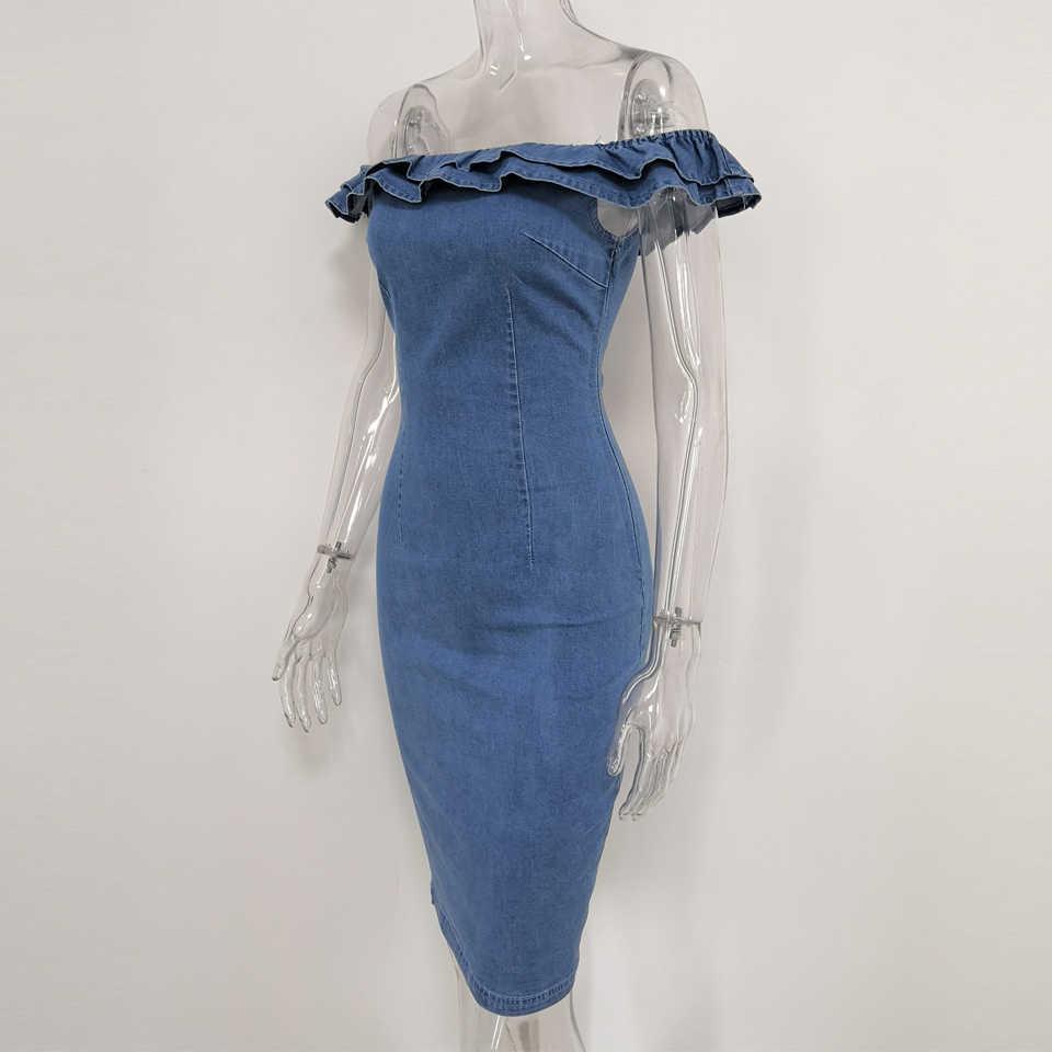 JillPeri/Новое модное платье с оборками и открытыми плечами, женское сексуальное стрейчевое джинсовое платье-футляр, однотонные вечерние, повседневные, многоходовые, миди платья