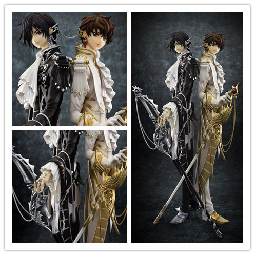 Anime R2 CLAMP Works in Code Geass Lelouch&Suzaku Figure Toy Collection MH GEM CC Model Brinquedos Figurals Gift 24cm kururu suzaku code geass lelouch of the rebellion action figure pvc collection model toys brinquedos for christmas gift