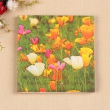Decoración al por mayor de papel pañuelos servilletas de mesa lindo flor tulipán multicolor vintage impreso hotel boda fiesta festiva decorativa