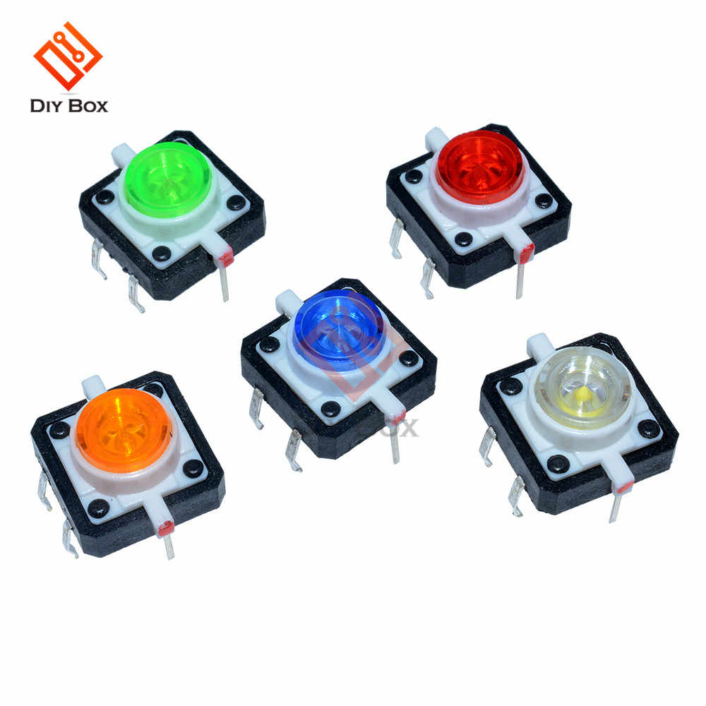 5Pcs DC12V 50MA 12X12X7.3 Tactile Push Button Switch Momentary Tact LED 5 Color for Household appliances Industrial equipment