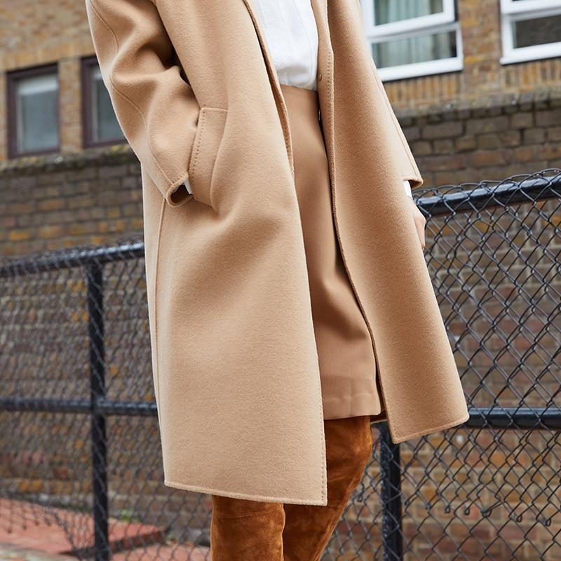 Vero Moda Women's new 100% wool double-sided single buckle minimalist woolen overcoat | 318327505 21