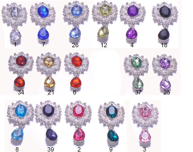 J0667 29mmx57mm metal rhinestone button silver plating flat back 16 colors for choose 100pcs lot