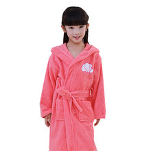 a3eb4531e7 Bathrobe Kids Hooded Bathgowns Terry Towel Robes Boys Girls Pink Blue Puppy Robe  Pajamas Girl SPA