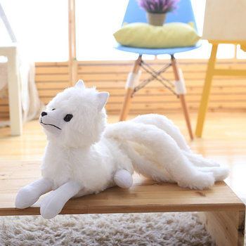 Plush white fox Fairy tale figure Nine tails fantastic Puffy long tail stuffed simulatian aniamls toys for children image