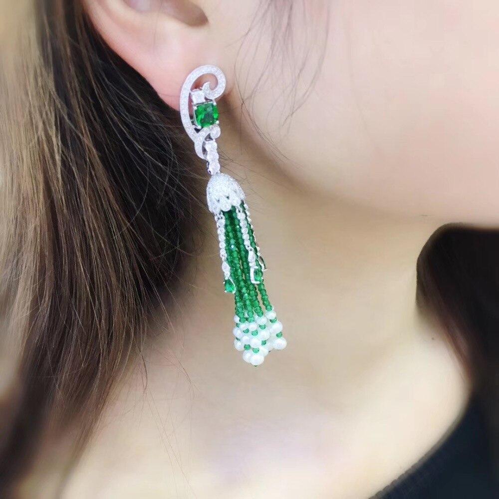 Зеленый цвет натуральный пресноводный жемчуг серьги полудрагоценный камень 925 серебро с кубическим Цирконом длинные кисточки серьги