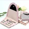 4 piezas Caliente del Regalo de cumpleaños Polka Flip Flop Clavo de Acero Clipper Cortador de la Pinza de Manicura Pedicura Set Case Kit