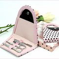 4pieces Hot birthday Gift Favor Polka Flip Flop Stainless Nail Clipper Nipper Cutter Pedicure Manicure Set Kit Case