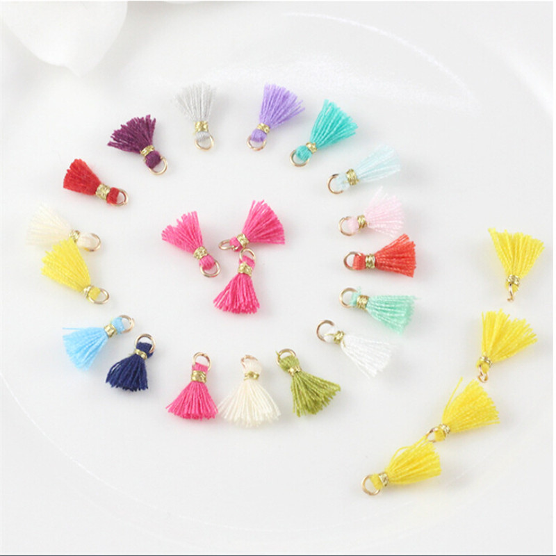 10pcs/lot 10mm Multi Mini Cotton Tassels For Diy Jewelry Making Accessories Small Tassels With Gold Ring For Earrings Necklace