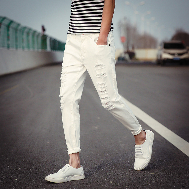 Summer casual white ripped jeans pants men 2017 fashion trend male ankle length elastic black distressed