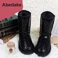 2016 Marca invierno mujer botas de nieve Impermeables botas de cuero genuino botas de piel de nieve hasta la rodilla zapatos de mujer de invierno corto botas de pierna