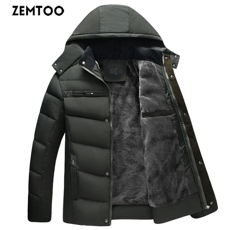 zemtoo Men's Casual   Parkas   Solid Color Fleece Winter Jacket Men Hooded Thick Warn Padded Overcoat Man Overwear Winter Coat