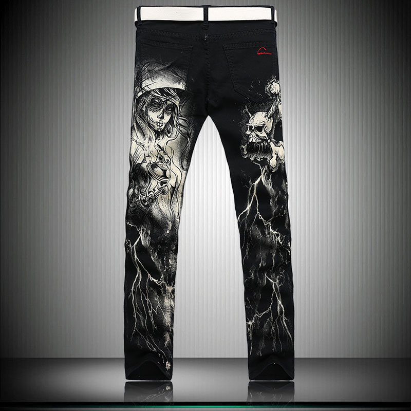 Nye 2018 Mænds Trykte Jeans Punk Style Gothic Painted Cotton - Herretøj - Foto 2